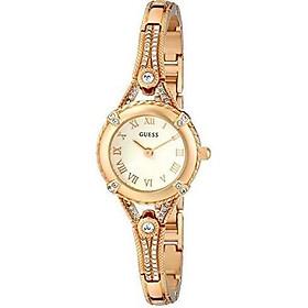 GUESS Women's Stainless Steel Petite Vintage Inspired Crystal Bracelet Watch
