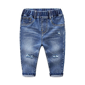 Unisex Children New Arrival Hot Sales Fashion Hole Jeans Full Length Blue Pencil Solid Pants Kids Wear For 2-6 T