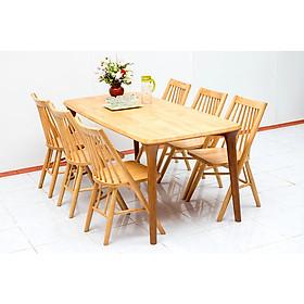 Bộ bàn ăn gỗ cao su Nội Thất Nhà Bên Nan 27 (Nâu nhạt)