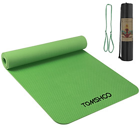 TOMSHOO 72.05×24.01in Portable Yoga Mat Thicken Sports Mat Anti-slip Exercise Mat for Fitness Workouts with Carrying