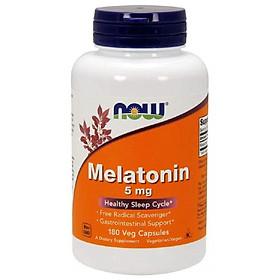 NOW Melatonin 5mg - MẤT NGỦ CHO TRÁI MÚI GIỜ, Bổ Sung Hormone Tự Nhiên Melatonin Giúp Tạo Giấc Ngủ Một Cách Tự Nhiên Chai 180 Viên
