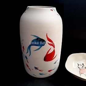 Bình Cắm Hoa Hoạ Tiết Cá Đàn - Vẽ Và Vuốt Bằng Tay -ABV-BBMCD002