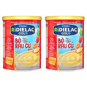 COMBO 2 HỘP BỘT ĂN DẶM RIDIELAC GOLD BÒ RAU CỦ - HỘP THIẾC 350G