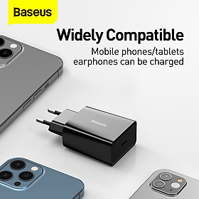Củ sạc nhanh Baseus công suất 20W, 1 cổng Type-C, sạc nhanh cho iPhone, Samsung, Xiaomi, Huawei,...-Hàng Chính Hãng