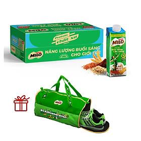 Sữa lúa mạch ngũ cốc Nestlé MILO Teen bữa sáng 200 ml (24x200 ml) + Tặng túi du lịch