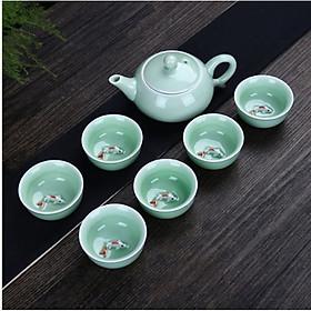 Bộ ấm chén uống trà Cá 3D