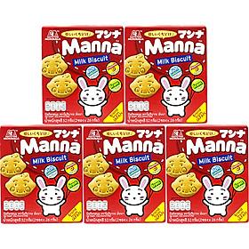 Lốc 5 Hộp bánh quy sữa ăn dặm Morinaga - Manna Milk Biscuit