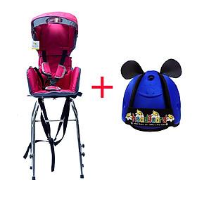 Combo Ghế Ngồi Xe Ga Beesmart - Hồng + Tặng Kèm Nón bảo vệ đầu cho bé