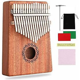 Đàn kalimba 17 phím chất liệu gỗ Mahogany Âm vang ấm tặng phụ kiện búa chỉnh âm, khăn lau đàn, Stick dán màu , túi nhung , tab hướng dẫn cho bạn mới tập chơi kalimba M-17KR