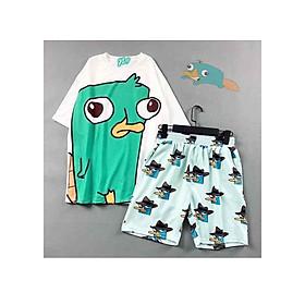 Set quần áo nữ Perry gồm 1 quần cartoon kèm 1 áo thun nam nữ form rộng tay lỡ Freesize mặc vừa từ 40-65kg Molly Urban