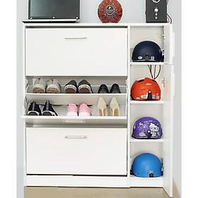 Tủ giày thông minh cở lớn được ưa chuộng nhất hiện nay, Màu trắng, Chất liệu Gỗ Công Nghiệp chống trầy, Kích thước 100 x 120 x 290. Tiện lợi, đễ được nhiều đồ, độ bền cao.