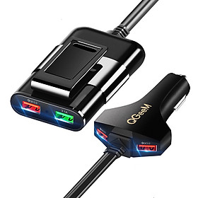 Củ sạc ô tô QGeeM 4 cổng USB QC 3.0 sạc mặt trước và sau ghế - Hàng Chính Hãng