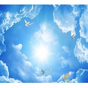 Tranh dán trần 3d bầu trời mây xanh TN69