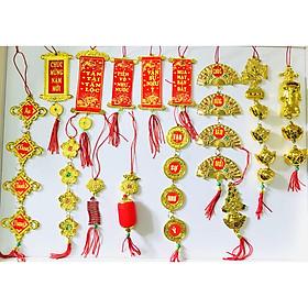 Combo 18 Dây Treo Đồng Tiền Vàng Câu Đối Thần Tài Mang Mai Mắn Tài Lộc