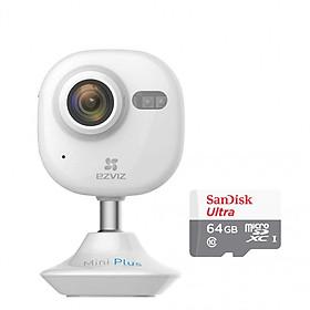 Hình đại diện sản phẩm Camera IP Wifi Không Dây Ezviz Mini Plus 1080P (CS-CV200-A0-52WFR) Và Thẻ Nhớ 64GB - Tặng tai nghe Bluetooth