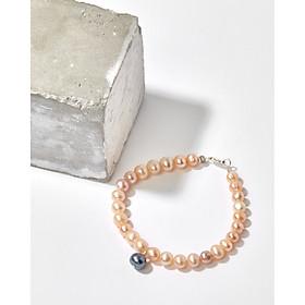 Vòng tay ngọc trai nuôi thiên nhiên hồng mix ngọc trai xanh đen treo khoá bạc 925 mạ vàng thanh lịch - Cami.J