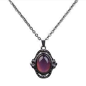 Oval Gem Mood Change Emotion Color Change Pendant Stainless Steel Necklace