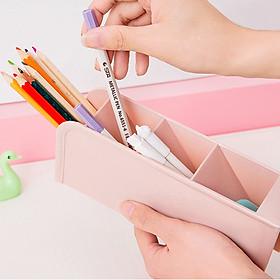 Hộp đựng bút viết, đồ văn phòng phẩm đa năng 4 ngăn (màu ngẫu nhiên)