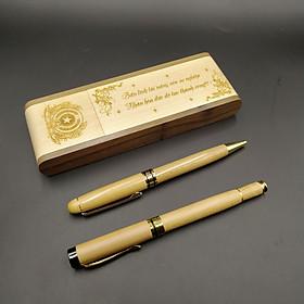 Combo bộ bút gỗ bi nước + tặng 1 cây bút gỗ bi xoay