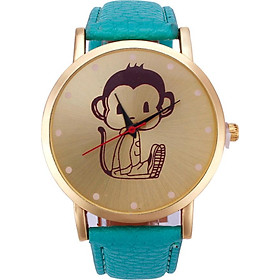 Neutral Diamond Lovely Monkey Pattern Faux Leather Band Quartz Watch Gifts
