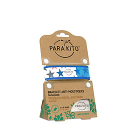 Viên chống muỗi PARA'KITO kèm vòng đeo tay bằng vải  hoa văn ngôi sao (loại 2 viên) -PGWB04