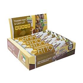 Bánh Ăn Sáng Ngũ Cốc Gạo Lứt Và Các Loại Hạt Điều Đậu Phộng Mè – FITTO Coconut Bar 210gr (Hộp 6 thanh hạt)