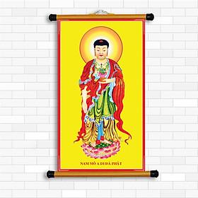 Tranh Canvas Nẹp sáo nhựa , Phật A Di Đà  KT 25 cm x 45 cm