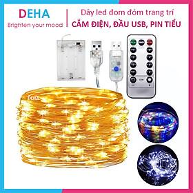 Dây đèn led đom đóm trang trí DEHA cắm điện, đầu USB, dùng pin có loại nhấp nháy, nháy chớp decor phòng, cắm trại