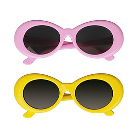 2pc Retro Kurt Cobain Glasses Clout Goggles Sunglasses Oval Bold Mod Thick Frame