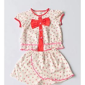 Bộ quần áo ngắn bé gái Dâu bi nhí quần váy linen đũi - AICDBGY90XUS - AIN Closet