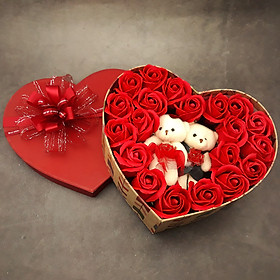 Quà tặng sinh nhật, 8/3 cho bạn gái - hoa hồng sáp hộp tim 2 gấu, màu đỏ - H15D