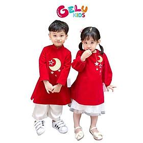 Set áo dài nhung đỏ thêu trăng sao áo dài đôi thiết kế cao cấp cho bé trai bé gái