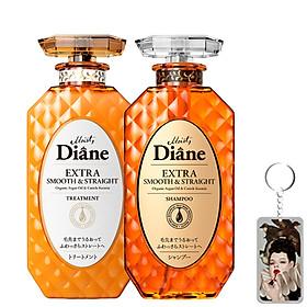 Cặp gội/xả Moist Diane Extra Straight giúp vào nếp, suôn mượt Hàn Quốc (2x450ml) - Dành cho tóc khô,quăn tặng kèm móc khoá-0