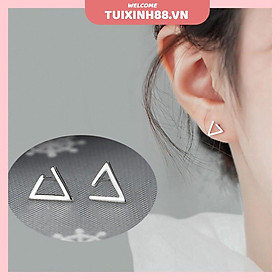 Đôi bông tai màu bạc hình tam giác phong cách Hàn Quốc cho nữ