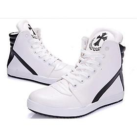 Giày nam sneaker phối trắng đen cổ cao SM005 - Trắng