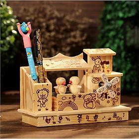 Căn nhà phát nhạc kèm ống đựng bút bằng gỗ độc đáo sáng tạo