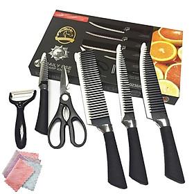 Bộ dao nhà bếp Nhật 8 MÓN, 04 dao nhiều kích thước khác nhau, 01 kéo, 01 dụng cụ nạo, có tặng kèm 02 khăn lau bếp đa năng, chất liệu thép gợn sóng cao cấp  không gỉ