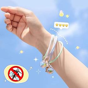 Vòng tay đuổi muỗi tinh dầu cam sả thơm nhẹ, dây buộc tóc silicon đính hạt thủy tinh thời trang an toàn