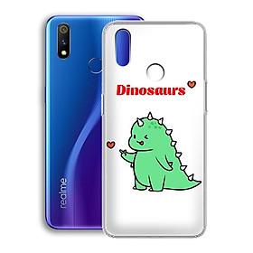 Ốp lưng dẻo cho điện thoại Realme 3 Pro - 01221 7877 DINOSAURS04 - Khủng long dễ thương - Hàng Chính Hãng