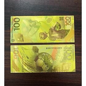 Tờ tiền 100 Rúp Nga kỷ niệm world Cup 2018 phiên bản lưu niệm bằng plastic vàng - kèm bao lì xì - The Merrick Mint