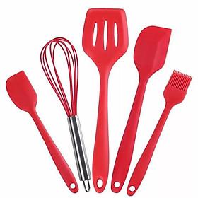 Bộ 5 chổi phới spatula silicon đỏ làm bánh