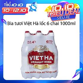 Lốc 6 chai Bia chai tươi Việt Hà ( 1 lít/chai )