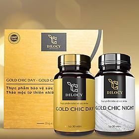 Bộ sản phẩm Hỗ trợ giảm cân Dilocy - Viên uống ngày đêm Gold Chic Day & Night - Chiết xuất thảo mộc từ thiên nhiên hiệu quả, an toàn