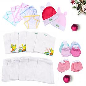 Combo 27 món đồ dùng sơ sinh cho bé(5 Áo tay dai cúc giữa trắng + 5 Quần dai trắng+ 10 Bao Tay Chân + 2 Nón + 5 Tã)
