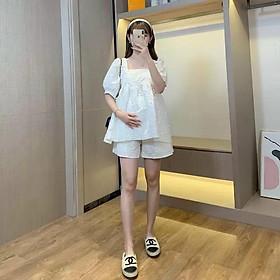 Bộ bầu đẹp thời trang cho mẹ bầu | Freesize <75kg | Đồ Bầu Mặc Nhà