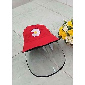 Mũ, nón vải thêu có tấm kính trong suốt chống dịch, chắn khói bụi- MẪU HOA CÚC(NHIỀU MÀU)