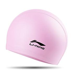 Li Ning (lining) swimming cap for men and women comfortable long hair PU coated swimming cap LSJK858-6 pink