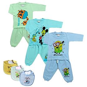 Combo 3 bộ quần áo trẻ em cotton mẫu tay dài màu nhạt (Tặng kèm 1 yếm Thái Hà Thịnh)