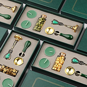 Vintage Spoon Stamp Set Box with Sealing Wax Beads Candle Craft Wedding Packaging Gifts DIY Scrapbooking Tools