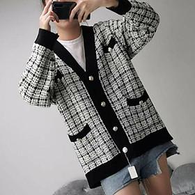 Áo khoác len dệt kim cổ sẻ V giản dị ulzzang